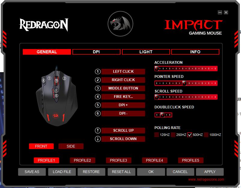 Redragon Impact User Interface