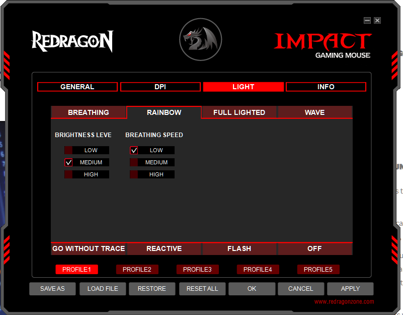 Customizable  RGB colors for the Redragon Impact M908